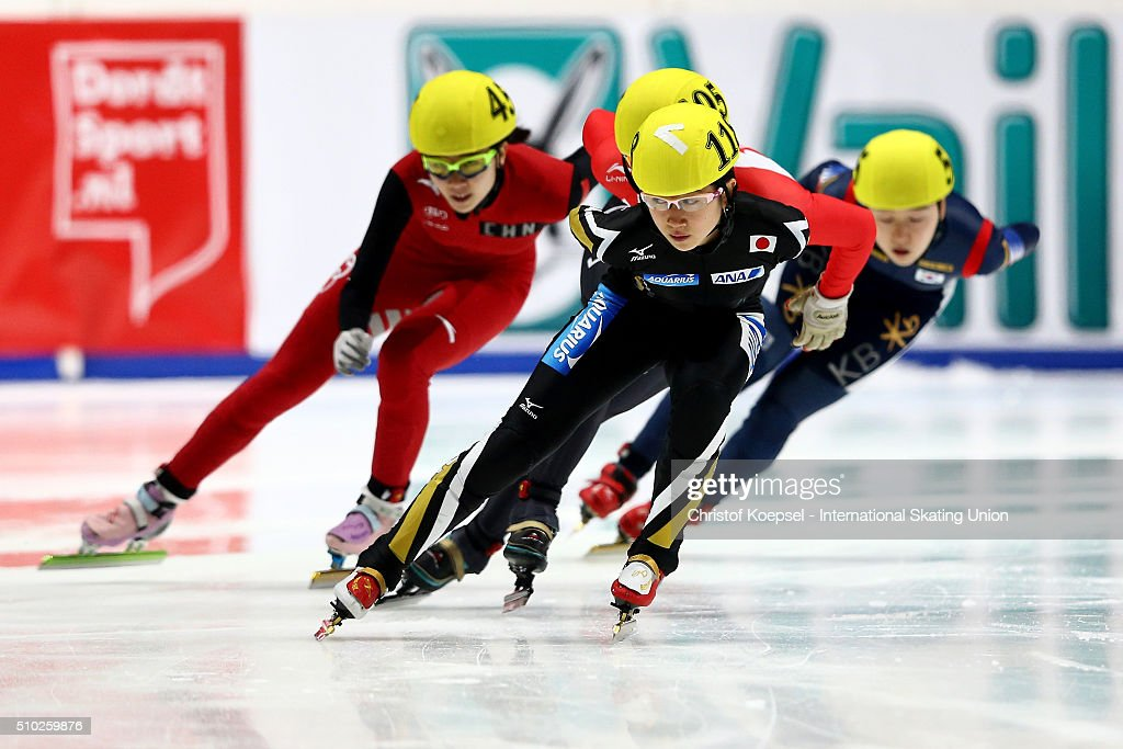 Aoi Watanabae of Japan skates during ladies 1000m semifinal second race heat two during Day 3 of ISU Short Track World Cup at Sportboulevard on February 14, 2016 in Dordrecht, Netherlands.