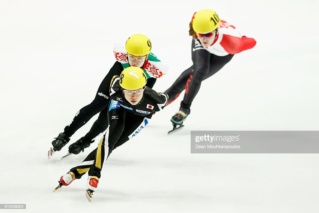 Aoi Watanabe #118 of Japan competes in the Ladies 1000m Final B during ISU Short Track Speed Skating World Cup held at The Sportboulevard on February 14, 2016 in Dordrecht, Netherlands.