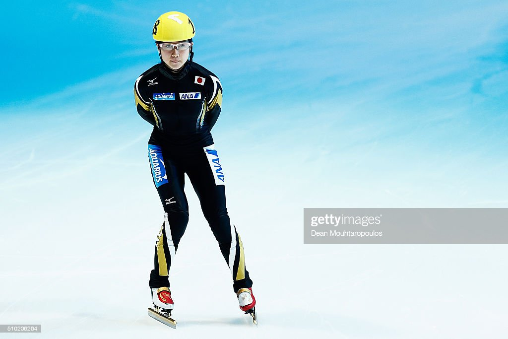 Aoi Watanabe of Japan gets ready to compete in the Ladies 1000m Final B during ISU Short Track Speed Skating World Cup held at The Sportboulevard on February 14, 2016 in Dordrecht, Netherlands.