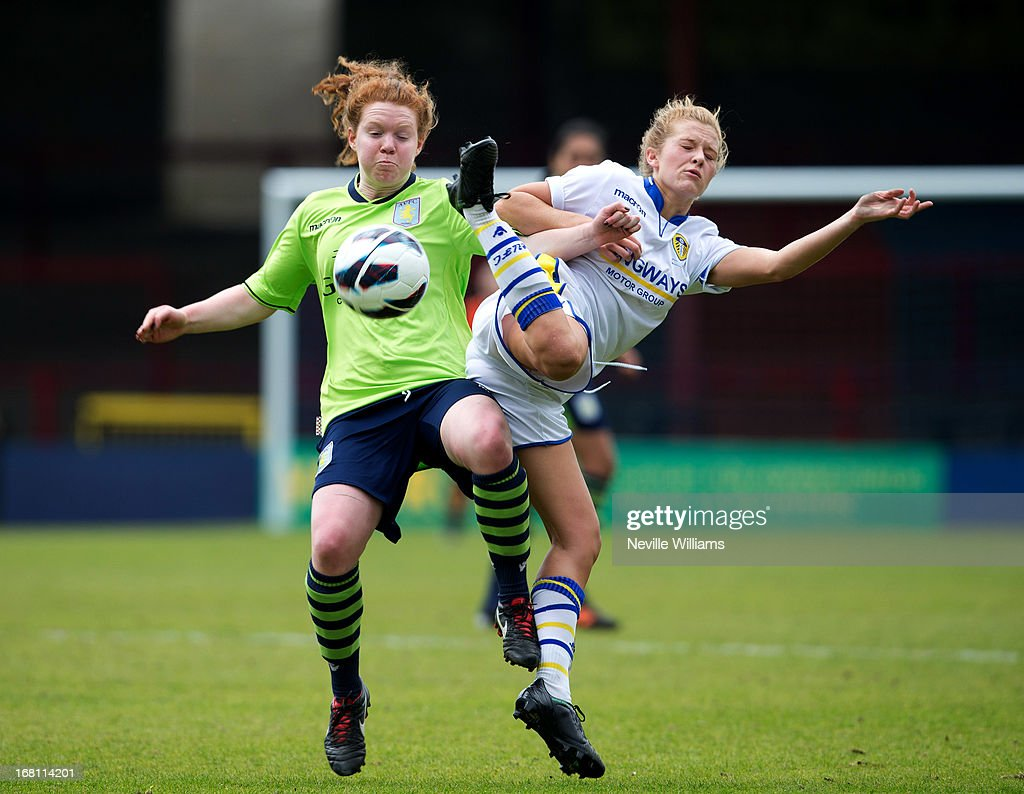 Aoife Mannion of Aston Villa Ladies is challenged by Bekki Bass of Leeds United Ladies during the FA Women's Premier League Cup Final match on May 05, 2013 in York, England.
