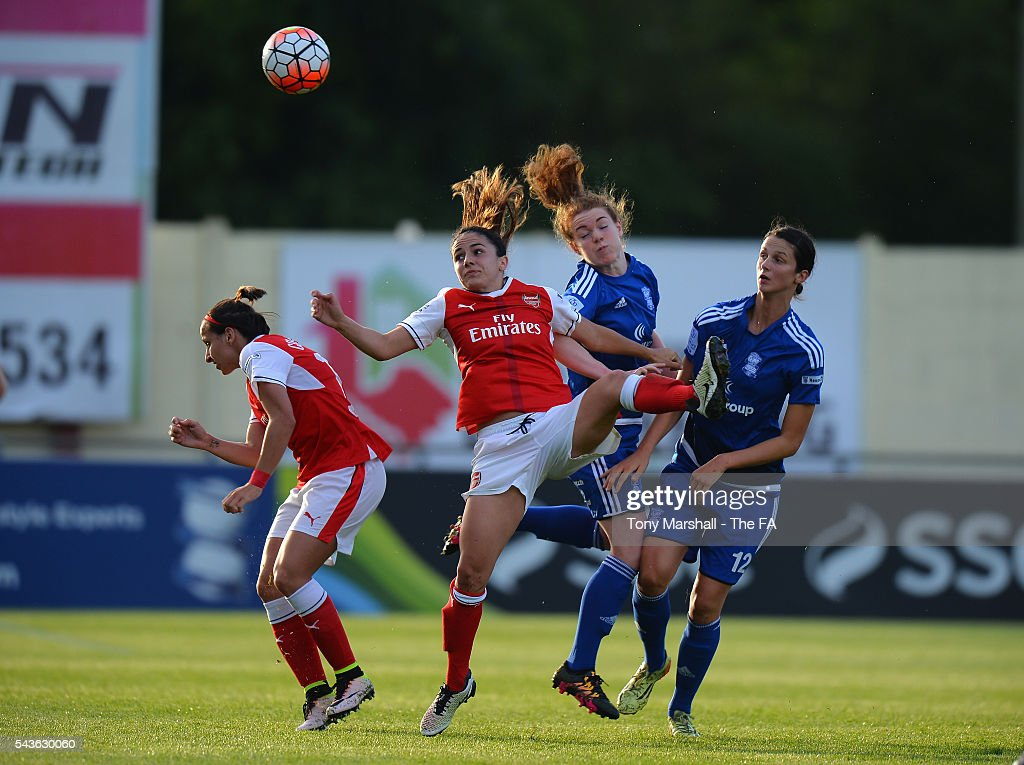 <a gi-track='captionPersonalityLinkClicked' href=/galleries/search?phrase=Aoife+Mannion&family=editorial&specificpeople=10893601 ng-click='$event.stopPropagation()'>Aoife Mannion</a> of Birmingham City Ladies challenges Danielle Van De Donk of Arsenal Ladies FC for the ball during the WSL match between Birmingham City Ladies and Arsenal Ladies FC at Automated Technology Stadium on June 29, 2016 in Solihull, England.