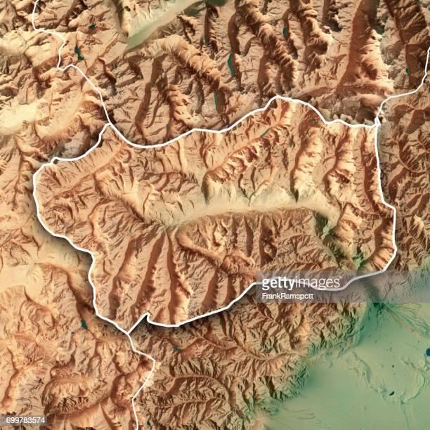Aosta Tal Staat Italien 3D-Render topographische Karte Grenze