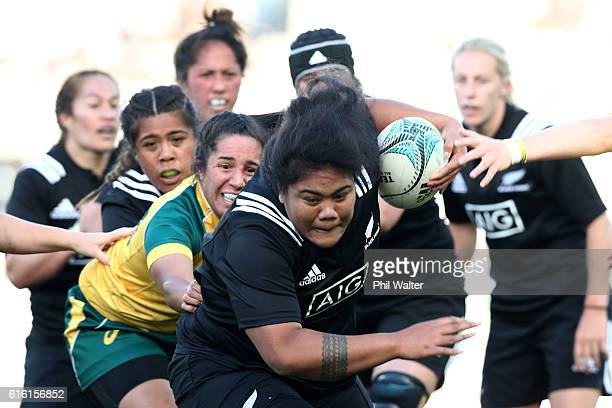 Aotearoa Mata'u of the Black Ferns is tackled during the international womens Test match between the New Zealand Black Ferns and the Australian...