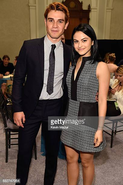 KJ Apa and Camilla Mendes backstage before The CW Network's 2016 Upfront at New York City Center on May 19 2016 in New York City