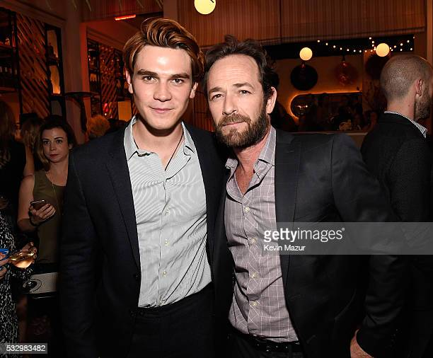 KJ Apa and Luke Perry attend The CW Network's 2016 Upfront party at Park Avenue Spring on May 19 2016 in New York City