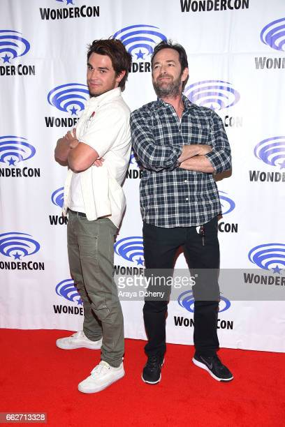 J Apa and Luke Perry attend the 'Riverdale' panel at WonderCon 2017 Day 1 at Anaheim Convention Center on March 31 2017 in Anaheim California