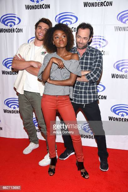 J Apa Ashleigh Murray and Luke Perry attend the 'Riverdale' panel at WonderCon 2017 Day 1 at Anaheim Convention Center on March 31 2017 in Anaheim...