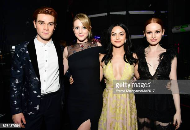 KJ Apa Lili Reinhart Camila Mendes and Madelaine Petsch pose backstage during the 2017 American Music Awards at Microsoft Theater on November 19 2017...