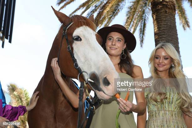 Apache Cat Rebecca Harding and Jessie Murphy pose during the Festival of Racing Media Launch at the St Kilda Beach Pontoon on February 9 2017 in...