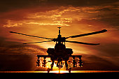AH-64A Apache Helicopter, silhouette