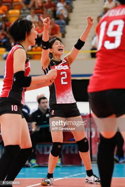 apanese Sarina Koga celebrates during the Grand Prix Volleyball match Japan versus Thailand on July 7 2017 in Apeldoorn / AFP PHOTO / ANP / Pim...