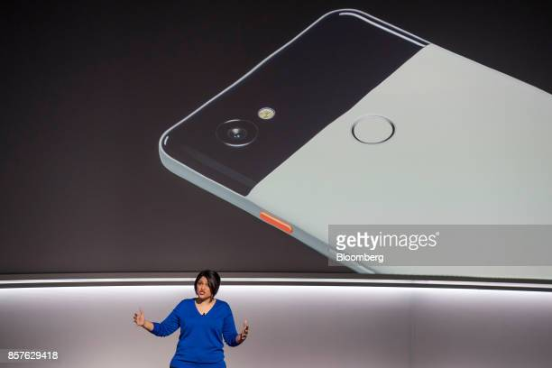 Aparna Chennapragada director of Google Now for Google Inc speaks about the Google Pixel 2 smartphone during a product launch event in San Francisco...