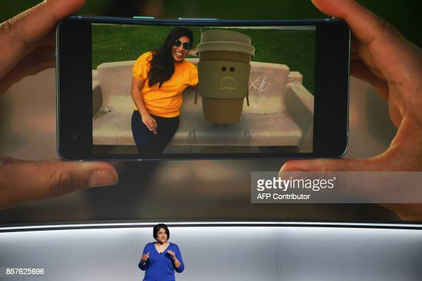Aparna Chennapragada Senior Director of Product at Google Inc talks about the new Augmented Reality stickers feature of the Pixel 2 smartphone at a...