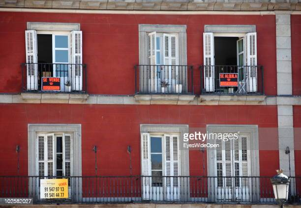 Apartements for rent at Plaza Mayor the famous central market place which dates back to the 15th century on May 20 2010 in Madrid Spain Madrid is a...