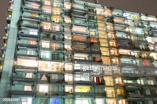 Apartment block at dusk