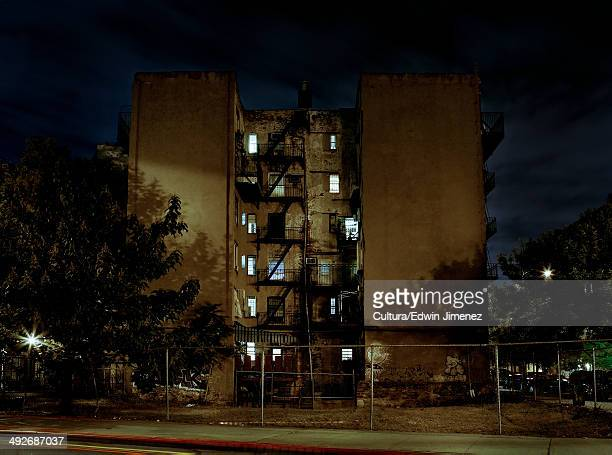 Apartment block at night, Williamsburg, Brooklyn, New York