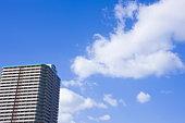 Apartment building under sky, copy space, Nishinomiya city, Hyogo prefecture, Japan