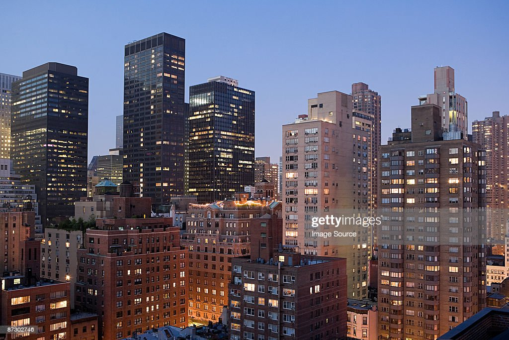 Apartment buildings in new york : Stock Photo