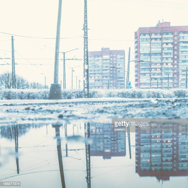 Maisons appartements dans la neige.