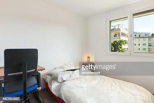 Apartment, white bedroom : Stock Photo