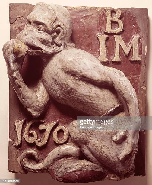 Ape and Apple Tavern sign from London 1670 This was the sign of a galleried inn which stood in Philip Lane near London Wall