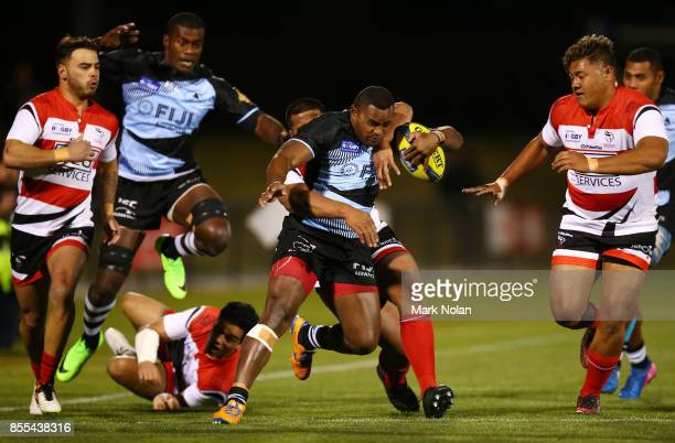 Apete Daveta of Fiji makes a line break during the round five NRC match between Canberra and Fiji at Viking Park on September 29 2017 in Canberra...