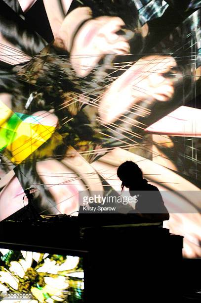 Aphex Twin performs on stage during day one of the Pitchfork Music Festival at the Grande Halle de La Villette on October 28 2011 in Paris France