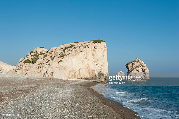 Aphrodites Rock, Petra tou Romiou, birthplace of the goddess Aphrodite, Greek mythology, white rocks on the beach, eastern Mediterranean sea, Cyprus, Europe