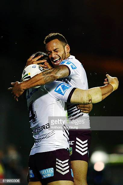 Apisai Koroisau and Steve Matai of the Sea Eagles celebrate a try during the round six NRL match between the New Zealand Warriors and the Manly Sea...