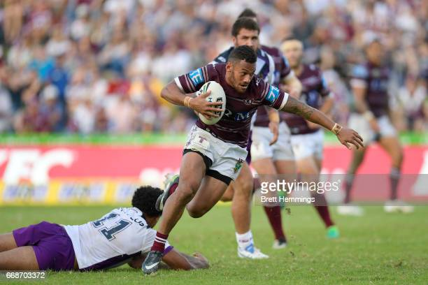 Apisai Koroisau of Manly makes a break during the round seven NRL match between the Manly Sea Eagles and the Melbourne Storm at Lottoland on April 15...