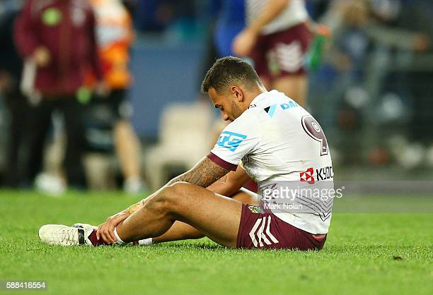 Apisai Koroisau of the Eagles looks dejected after the round 23 NRL match between the Canterbury Bulldogs and the Manly Sea Eagles at ANZ Stadium on...