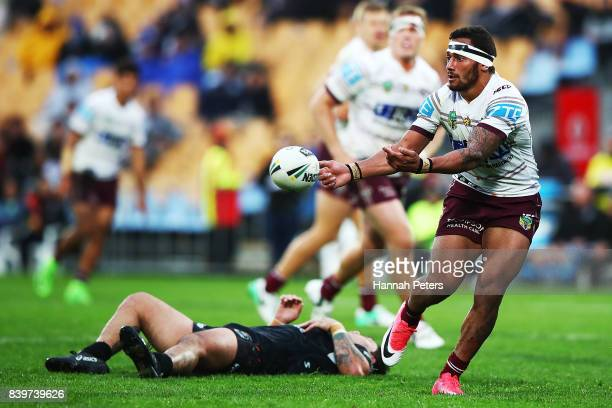 Apisai Koroisau of the Sea Eagles passes the ball out during the round 25 NRL match between the New Zealand Warriors and the Manly Sea Eagles at Mt...