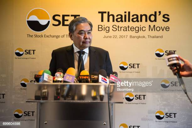 Apisak Tantivorawong Thailand's finance minister listens during a news conference on the sidelines of the Thailand's Big Strategic Move forum in...