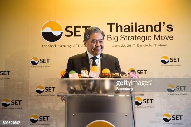 Apisak Tantivorawong Thailand's finance minister reacts during a news conference on the sidelines of the Thailand's Big Strategic Move forum in...