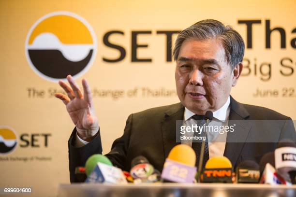 Apisak Tantivorawong Thailand's finance minister speaks during a news conference on the sidelines of the Thailand's Big Strategic Move forum in...