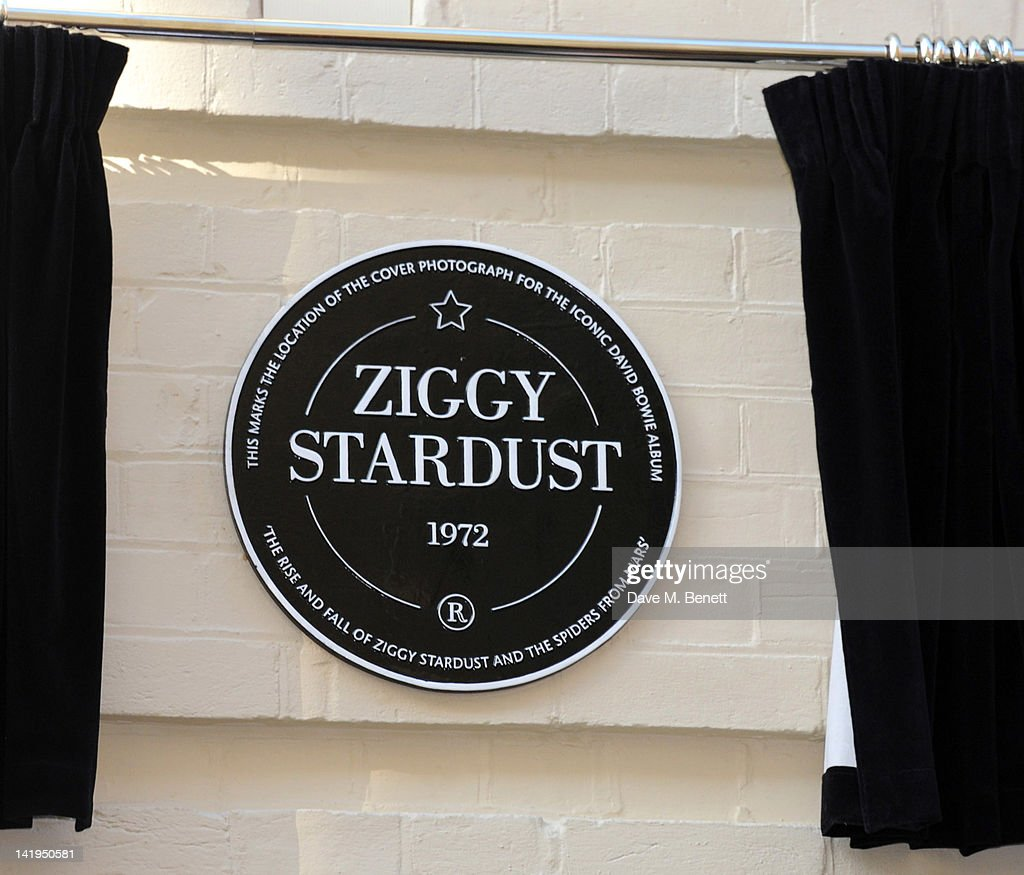 Aplaque dedicated to David Bowie's famous character Ziggy Stardust that was unveiled on March 27, 201 in London, England. The plaque has been installed on Heddon Street, London, which was the location of the album cover photograph for 'The Rise and Fall of Ziggy Stardust and the Spiders from Mars'.