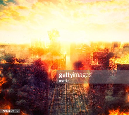 Apocalypse, burning city, fire, explosion