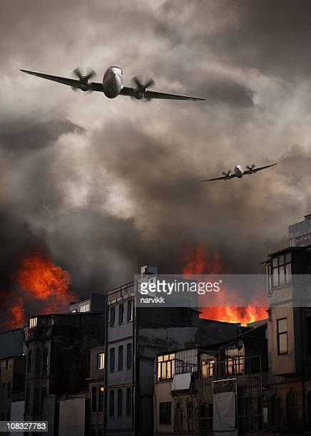 Apocalyptic Air Raid on Burning Town