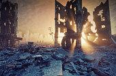 apocalyptic sunset. Creative 3D illustration