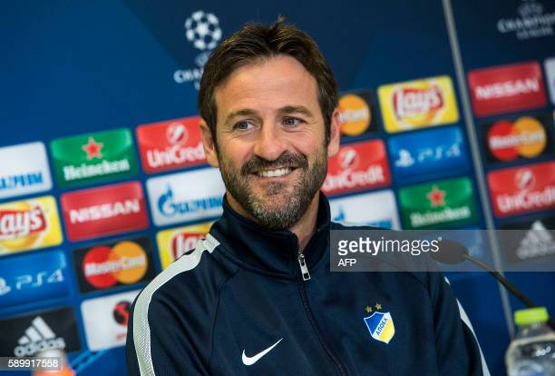 Apoel FC head coach Thomas Christiansen adresses the media during a press conference in Telia Park Copenhagen on August 15 2016 on the eve of the...