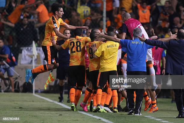 Apoel players celebrate a goal during UEFA Champions League play off between APOEL Nicosia and FC Astana at GSP Stadium on August 26 2015 in Nicosia...