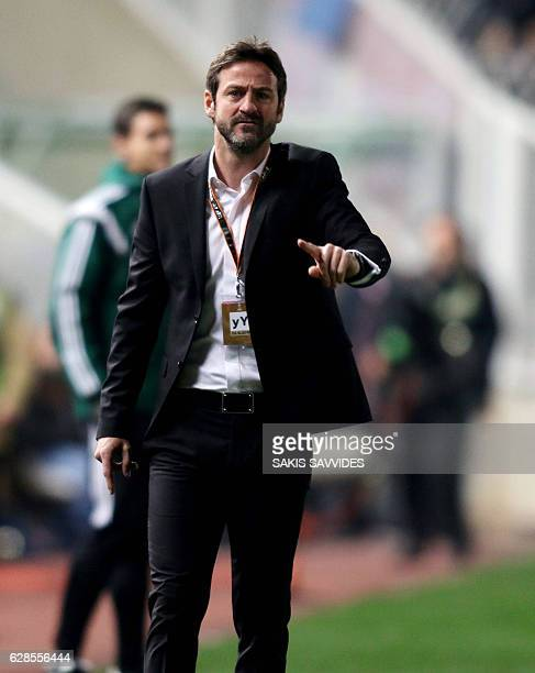 Apoel's Danish head coach Thomas Christiansen instructs his players during the Europa League Group B football match between Cyprus' APOEL FC and...