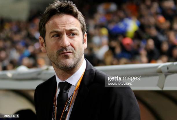 Apoel's Danish head coach Thomas Christiansen looks on ahead of the Europa League round of 16 football match between APOEL Nicosia vs RSC Anderlecht...