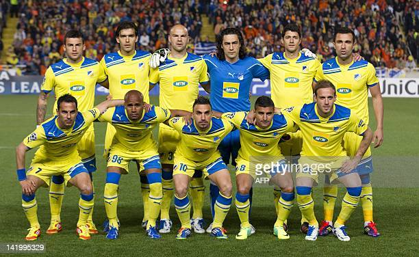 Apoel's football team posed for the photographers before the start of the UEFA Champions League first leg quarterfinal football match between Apoel...