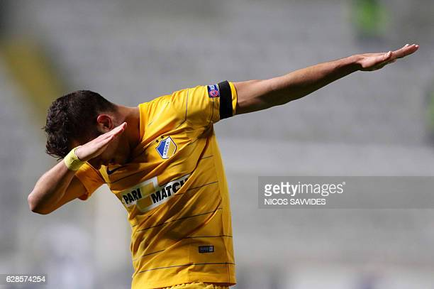 Apoel's forward Pieros Sotiriou celebrates after scoring during the Europa League Group B football match between Cyprus' APOEL FC and Greece's...