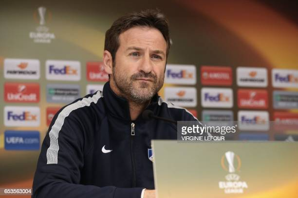 Apoel's head coach Thomas Christiansen looks on during a press conference in Anderlecht on March 15 on the eve of the UEFA Europa League football...
