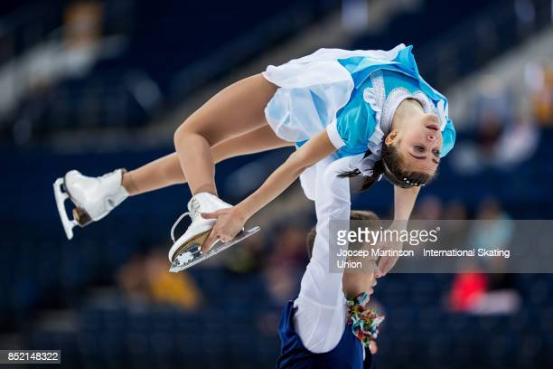 Apollinariia Panfilova and Dmitry Rylov of Russia compete in the Junior Pairs Free Skating during day three of the ISU Junior Grand Prix of Figure...