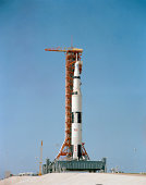 Apollo 10 space vehicle on the launch pad at Kennedy Space Center.