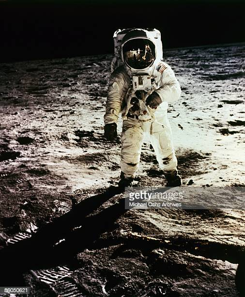 Apollo 11 astronaut Buzz Aldrin is photographed by Neil Armstrong as he stands by the lunar module on July 21 1969 on the Moon