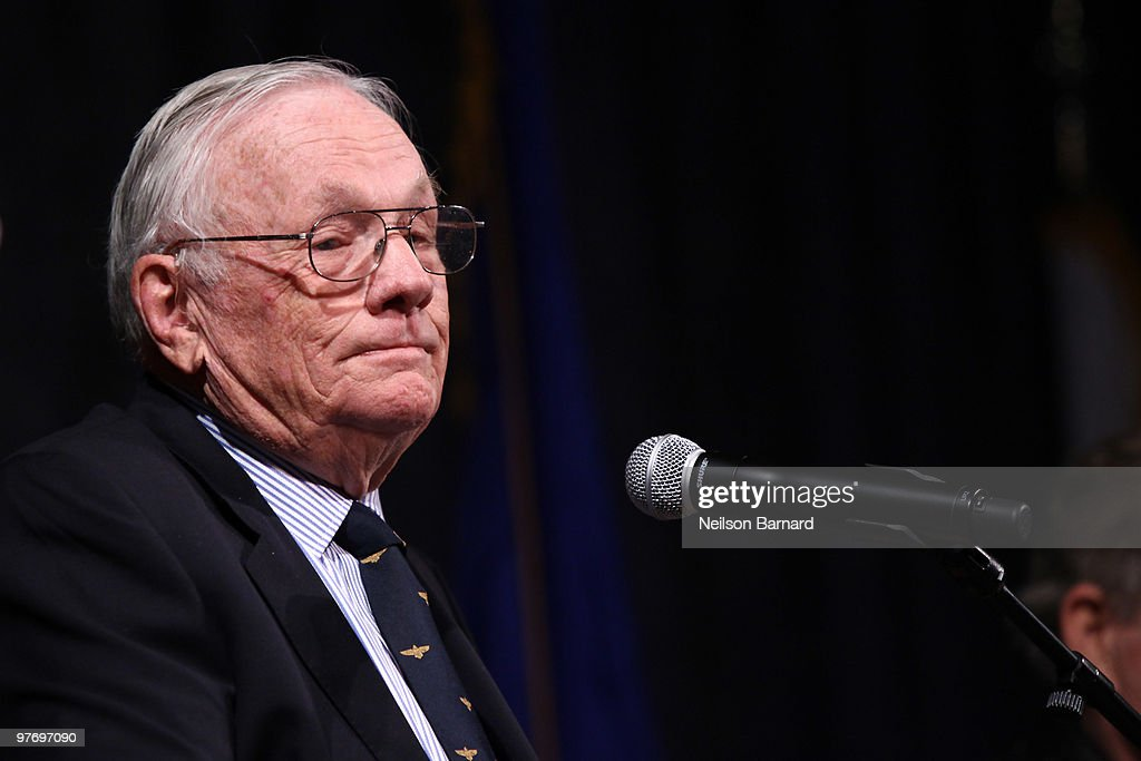 Apollo 11 mission commander Neil Armstrong attends the 'Legends of Aerospace' event at the Intrepid Sea-Air-Space Museum on March 14, 2010 in New York City.